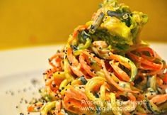 Veggie Noodles With Orange-Tahini Dressing And Hemp Seeds by Vegie Head www.organic-remix.com