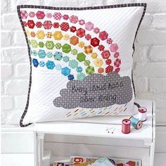 Sew the rainbow! See more of this pillow and grab the FREE TUTORIAL from in the latest issue in Fabric Collection Featured: Bee Basics By Pillow Fight, Quilted Pillow, Cushions, Pillows, Riley Blake, Latest Issue, Sewing Crafts, Hexagons, Tapestry