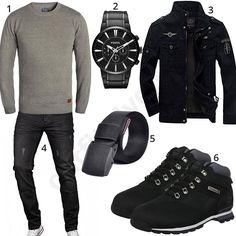 Outfit mit Blend Strickpullover, schwarzer Newbestyle Übergangsjacke, A. Salvarini Jeans, hohen Timberland Boots, Stoffgürtel und Fossil Armbanduhr.