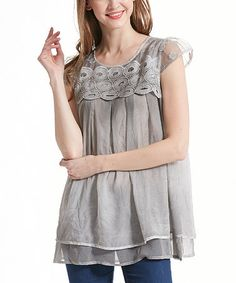 Another great find on #zulily! Gray Lace-Yoke Layered Cap-Sleeve Tunic #zulilyfinds