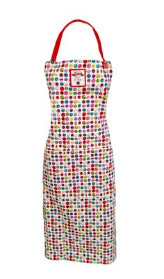 Avoca Button Apron. Long Cotton apron with front pocket and ties. Adjustable halter neck