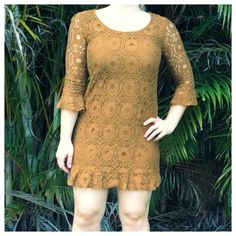 "F21 Lace Dress Boho mini dress in a brownish marigold shade. Beautiful lace work and ruffle detail. Fits like a women's xs. 31"" long.  ~CONDITION: Good   No Trades ✅ Discounted Bundles ✅ Reasonable Offers Forever 21 Dresses Mini"