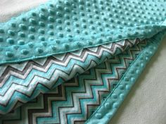 Turquoise and Gray Chevron Minky Blanket by MnStyle on Etsy, $40.00
