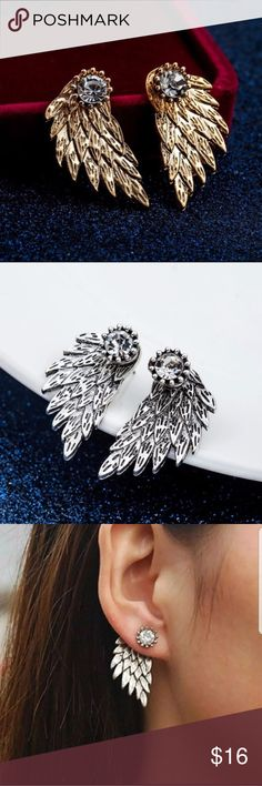 5 for $25 Double Sided Crystal Wing Earrings Double Sided Crystal Wing Earrings Jewelry Earrings