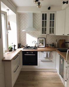 Kitchen Room Design, Home Decor Kitchen, Interior Design Kitchen, New Kitchen, Home Kitchens, Interior Paint, Kitchen Ideas, Voxtorp Ikea, Minimalist Kitchen
