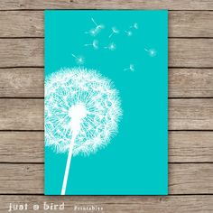 20x30 Dandelion Art Print, Teal Home Decor, Teal Nursery Decor, Home Decor,