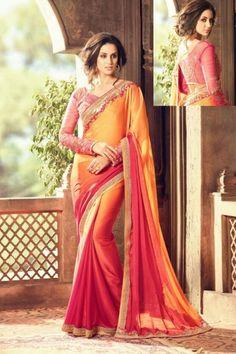 Items similar to Sabyasachi inspired chiffon Embroidered wedding saree party wear sari Designer sarees for women on Etsy Crepe Silk Sarees, Indian Silk Sarees, Bollywood Party, Indian Bollywood, Hyderabad, Phulkari Saree, Net Blouses, Sari, Saree Blouse