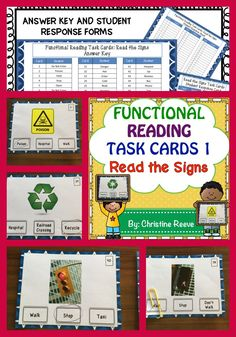 These functional sight word task cards are designed for students with autism or other disabilities working on functional curriculum or life skills. The cards are designed to work with environmental print sight word curricula. This set includes 60 multiple-choice task cards identifying sight words related to signs in the environment. They are differentiated by level of difficulty with cards 1-24 being signs that have the words on them and 25-60 having no words in the pictures. $3