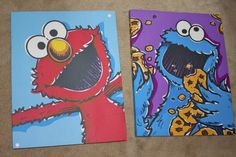 Elmo and Cookie  Cavas pics cute for Lucahs room!