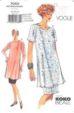 Loose-fitting, pullover tunic has back neck slit, button/loop, side slits and above elbow sleeves or long sleeves with stitched hems. Narrow hem. Straight skirt, above mid-knee, has elastic waist, sid