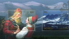 Postage stamps: How Norway became a country is shrouded in mystery and folklore. The most well known tale is of Harald Hårfagre who gathered the small kingdoms of the north into a unified nation in 872 AD. After the victorious Battle of Hafrsfjord, near Stavanger, Harald became the first king of Norway. He lived to a ripe old age (about 83 years) and passed his crown to his bloodthirsty son Eirik Blodøks (Eric Bloodaxe).