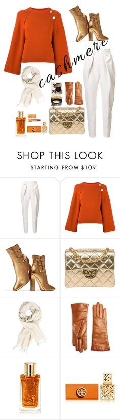 """Cashmere"" by modern-glam-designs ❤ liked on Polyvore featuring Delpozo, Vanessa Bruno, Gianvito Rossi, Chanel, Saks Fifth Avenue Collection, Lancôme and Tory Burch"