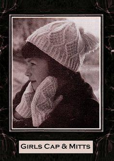 Items similar to PDF Vintage Girls ARAN Hat & Gloves Knitting Pattern Tassel Cap Mittens Winter Set Snuggly Retro Mod Baby Doll Skater on Etsy Easy Knitting, Knitting For Kids, Knitting Patterns, Crochet Patterns, Mitten Gloves, Mittens, Moss Stitch, Vintage Knitting, Vintage Girls
