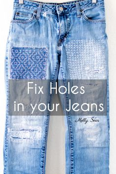 Diy Jeans, Torn Jeans, Patched Jeans, Sewing Hacks, Sewing Tutorials, Sewing Tips, Sewing Projects, Sewing Clothes, Diy Clothes