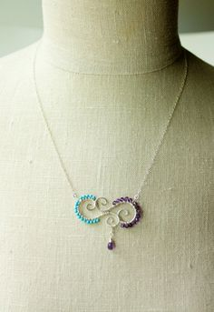 Turquoise and Amethyst Wire Wrapped Pendant by AnchoredArcher