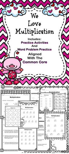 Happy Valentine's Day! This is a multiplication activity book for students to practice their skills. This book includes many different multiplication activities and word problems. #multiplication