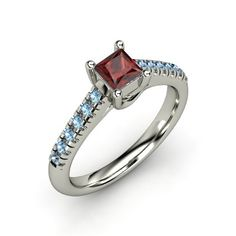 Princess Red Garnet Sterling Silver Ring with Blue Topaz - Avenue Ring | Gemvara $316