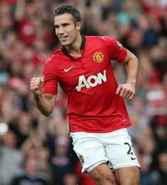 RvP celebrates his penalty kick goal.