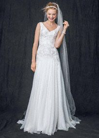 Chiffon A Line Gown with Beaded Bodice