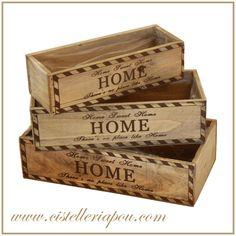 """Cajas de madera """"Home"""" originales para centros florales, lotes de regalos o decoración de espacios"""