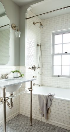 73 Beautiful White Subway Tiled Bathroom With Marble Bathtub The secret to a prosperous farmhouse bathroom renovation is to maintain the room bright. If you need a modern farmhouse … White Subway Tile Bathroom, Bathroom Floor Tiles, Bathroom Renos, Bathroom Renovations, Bathroom Interior, Bathroom Ideas, Shower Ideas, Bathroom Mirrors, Bathroom Hardware
