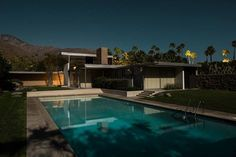 The Kaufmann house shot at night during a full moon by the photographer Tom Blachford. Click on the image to see more of this house.