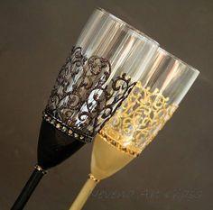 Gatsby Style Wedding, Champagne Glasses, Wedding Glasses, Champagne Flutes, Gold Black Glasses, Set of 2