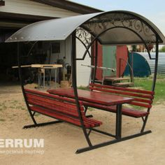 New pergola design steel wrought iron ideas Iron Furniture, Steel Furniture, Garden Furniture, Outdoor Seating, Outdoor Decor, Pergola Designs, Pergola Kits, Picnic Table, Wrought Iron