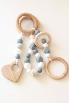 Baby gym toys / Set of 3 toys / Natural by ZanesCrochetTreasure
