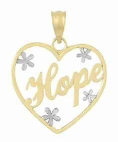 Amazon.com: 14k Gold Necklace Charm Pendant, Hope In Heart Frame With Floating Diamond Cut F: Million Charms: Jewelry