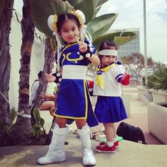 These cute-as-a-button Street Fighters. | The 25 Most Adorable Cosplayers At Comic-Con