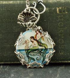 Mermaid Necklace Seahorses Oyster Sterling Silver Filigree Vintage Style Altered Art Mermaid Pendant $38.00