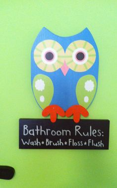 Wooden Owl Bathroom Rules Sign. $29.99, via Etsy.