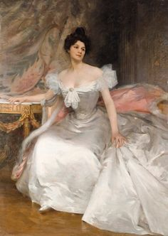 """""""Portrait of a Young Woman in a White Dress"""" by Etienne-Albert-Eugene Joannon, called Joannon-Navier (1896)."""