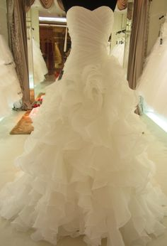 Organza Lace Back Ruffle Wedding Dress by PBSoulandHeart on Etsy, $275.00