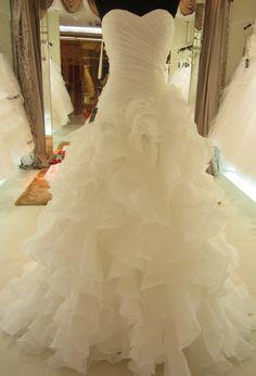 Organza Lace Back Ruffle Wedding Dress by PBSoulandHeart on Etsy, $275.00