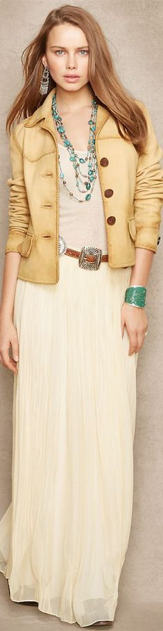 Ralph Lauren Blue Label Western Leather Jacket and Crinkled Silk Maxi Skirt