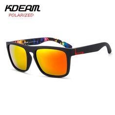 f0ac46bd4b2 KDEAM Brand Sunglasses Men Sports Sun Glasses Women Polarized Mirror lens  Square Frame 11 Colors UV400