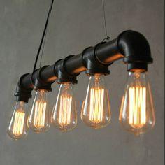 Edison personalizada vendimia desván Industrial polea tubería de agua colgante de luces colgantes de la lámpara para almacén 5 unids E27 bombillas(China (Mainland))
