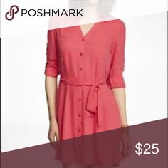 Express pink portofino shirt dress Like new, never worn pink portofino shirt dress from express. Perfect condition, just missing tags. It was a gift and it just isn't my color ¯\_(ツ)_/¯ Express Dresses Long Sleeve