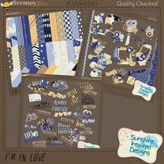 This fun and colorful digital scrapbooking collection is perfect for all your Love inspired layouts.  It Collection includes:   Paper pack with 25 colorful pattern papers in yellow and blue hues and 7 solid papers in each color of the palette.   I'm In Love Elements Pack includes 7o charming elements in yellow and blue hues.  This word art pack includes 30 pieces: 20 unique love inspired word art pieces  and 10 word strips.