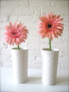 Pair of Porcelain Lace Flower Vases-Hideminy Lace Series by Hideminy Ceramics, via Flickr