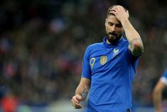 Olivier Giroud of France gestures during the 2020 UEFA European Championships group H qualifying match between France and Iceland at Stade de France on March 2019 in Saint-Denis, France. Get premium, high resolution news photos at Getty Images Uefa European Championship, European Championships, Iceland, March, Football, Group, Mens Tops, Image, Ice Land