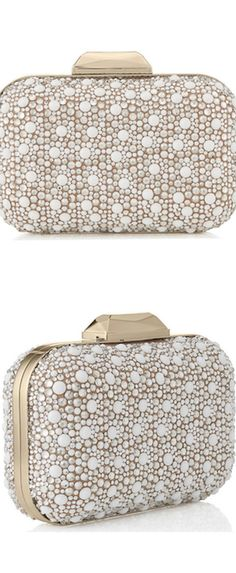 Jimmy Choo White Suede with Crystals Mix Clutch Bag | LOLO      ᘡղbᘠ