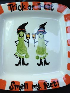 Trick or Treat feet witches bowl. I must do this, its just so cute!