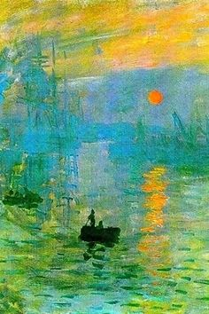 Impression Sunrise, Claude Monet Clara's note: Monet's impressionist technique consisted on brushstrokes layered over one another.