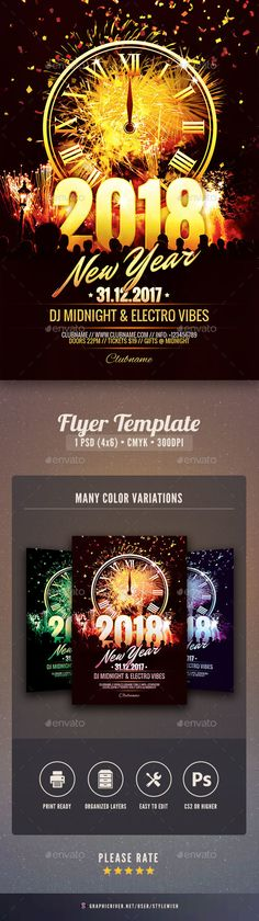New Year Flyer Template  Flyer Template Template And Design Posters