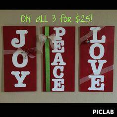 Joy, Peace, & Love Wood Signs <3