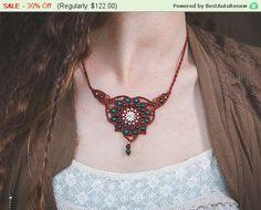New to MacrameLoveJewelry on Etsy: Valentines Day Sale - Macrame Jewelry Macrame necklace spiritual Mandala necklace. Boho radish brown mandala with Tibetan Turquoise Gar... (85.40 USD)