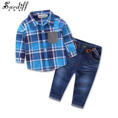 ==> [Free Shipping] Buy Best Sardiff 2017 Kids Clothing Set 2 Pieces Plain ShirtJeans Pants Toddle England Style Clothes Spring Autumn Clothes Fashion Set Online with LOWEST Price | 32821275609